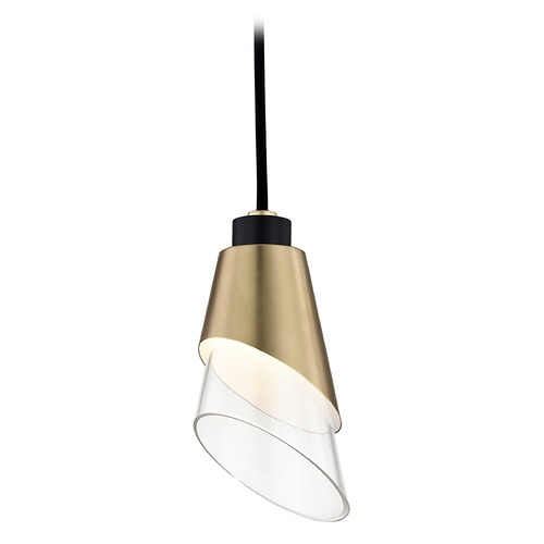 Mitzi by Hudson Valley Mid-Century Modern LED Mini-Pendant Light Brass / Black Mitzi Angie by Hudson Valley H130701-AGB/BK