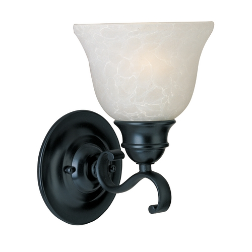 Maxim Lighting Sconce Wall Light with White Glass in Black Finish 11807ICBK