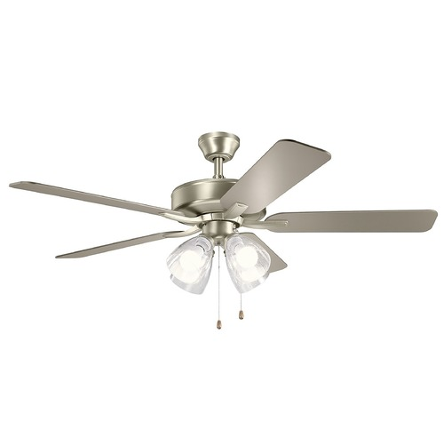 Kichler Lighting Basics Pro Premier Brushed Nickel LED 52-Inch Ceiling Fan with Light 2700K 330016NIS