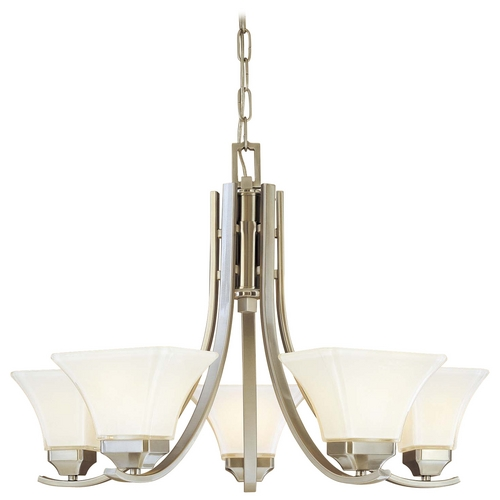 Minka Lavery Chandelier with White Glass in Brushed Nickel Finish 1815-84