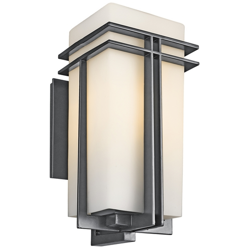 Kichler Lighting Kichler Modern Outdoor Wall Light with White Glass in Black Finish 49203BK