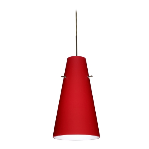 Besa Lighting Modern Pendant Light with Red Glass in Bronze Finish 1JT-4124RM-BR