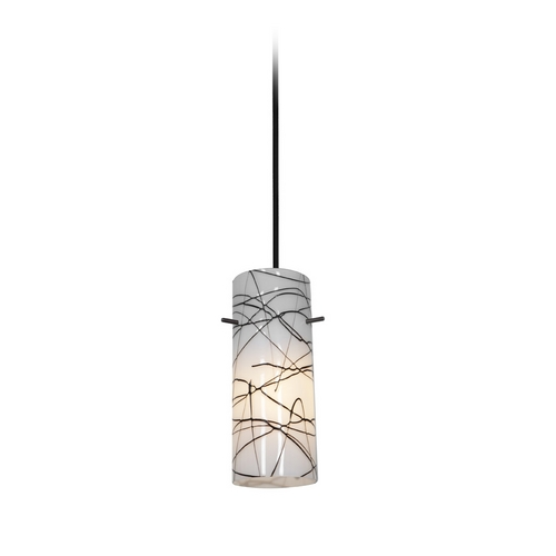 Access Lighting Modern Mini-Pendant Light with White Glass 28030-1C-ORB/BLWH