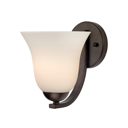 Design Classics Lighting Contemporary Sconce with White Bell Glass in Bronze Finish 585-220 GL9222-WH