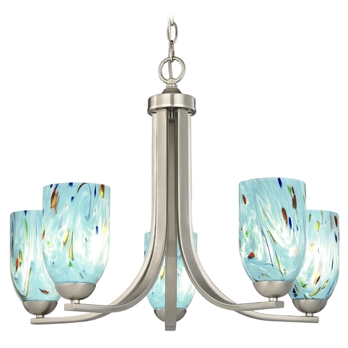 Design Classics Lighting Chandelier in Satin Nickel Finish 584-09 GL1021D