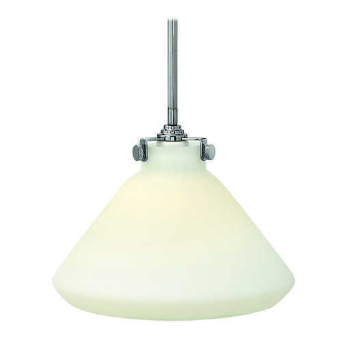Hinkley Lighting Pendant Light with White Glass in Chrome Finish 3131CM