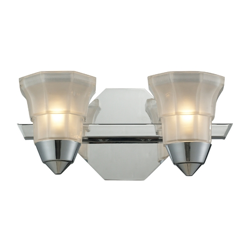 Elk Lighting Modern Bathroom Light with White Glass in Polished Chrome Finish 11391/2