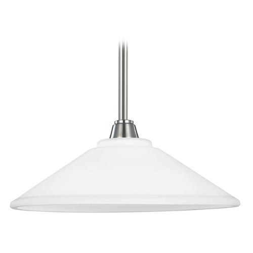 Sea Gull Lighting Sea Gull Lighting Parkfield Brushed Nickel Pendant Light with Coolie Shade 6513001-962
