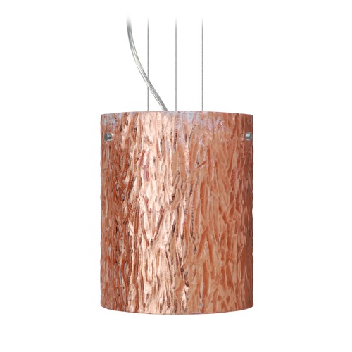Besa Lighting Besa Lighting Tamburo Satin Nickel Mini-Pendant Light with Cylindrical Shade 1KG-4006CS-SN