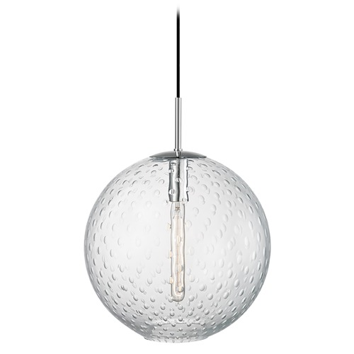 Hudson Valley Lighting Hudson Valley Lighting Rousseau Polished Chrome Pendant Light with Globe Shade 2015-PC-CL