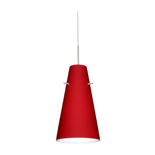 Besa Lighting Modern Pendant Light with Red Glass in Satin Nickel Finish 1JT-4124RM-SN