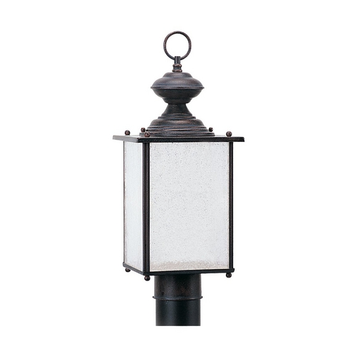 Sea Gull Lighting Post Light with White Glass in Textured Rust Patina Finish 89386BL-08