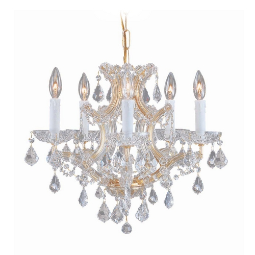 Crystorama Lighting Crystal Mini-Chandelier in Gold Finish 4405-GD-CL-S