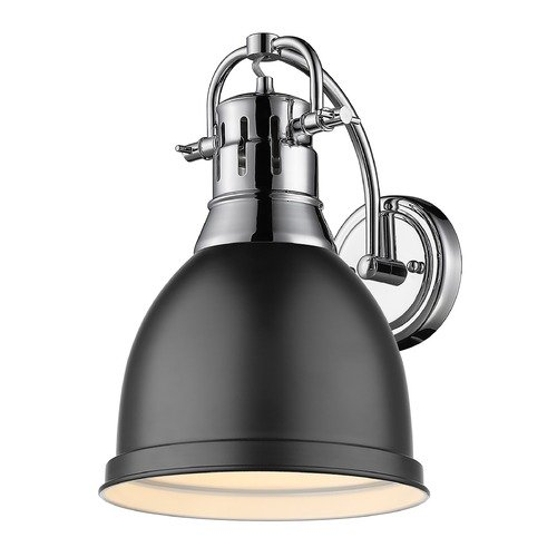 Golden Lighting Golden Lighting Duncan Chrome Sconce with Matte Black Shade 3602-1WCH-BLK