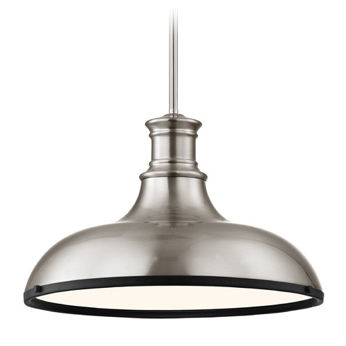 Design Classics Lighting Industrial Pendant Light Satin Nickel and Black 15.63-Inch Wide 1761-09 SH1777-09 R1777-07