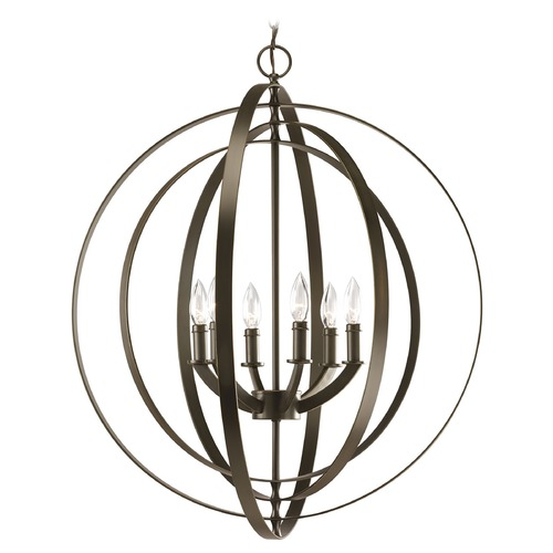 Progress Lighting Progress Orb Chandelier Pendant Light in Bronze Finish P3889-20