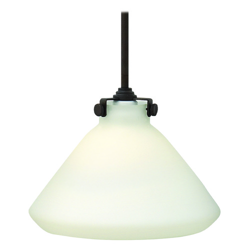 Hinkley Lighting Pendant Light with White Glass in Oil Rubbed Bronze Finish 3131OZ