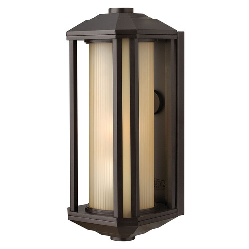 Hinkley Lighting Outdoor Wall Light with Amber Glass in Bronze Finish 1390BZ