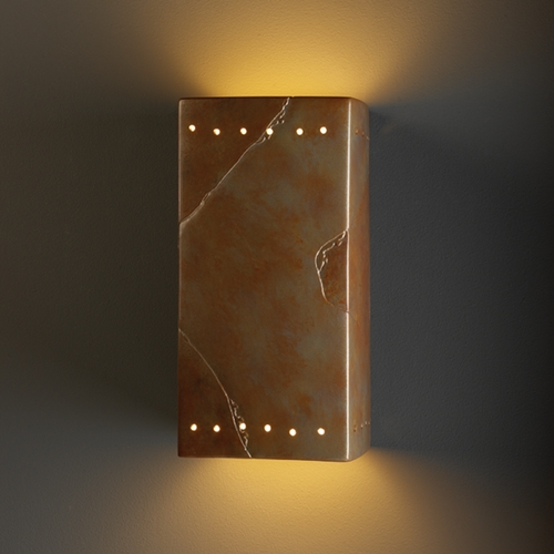 Justice Design Group Outdoor Wall Light in Tierra Red Slate Finish CER-0965W-SLTR