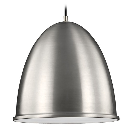 Sea Gull Lighting Sea Gull Lighting Hudson Street Satin Aluminum Pendant Light with Bowl / Dome Shade 6525401-04