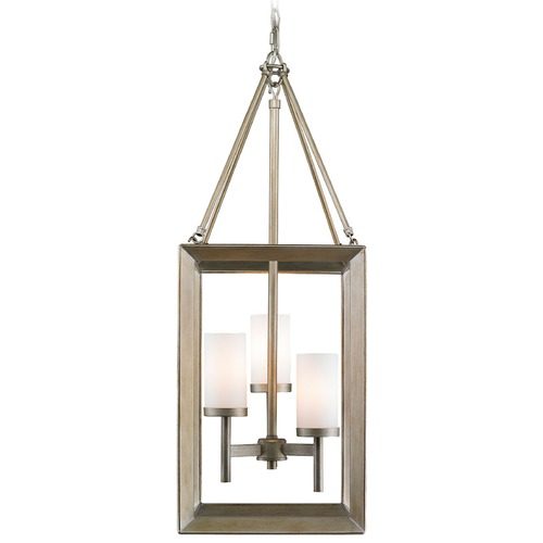 Golden Lighting Golden Lighting Smyth White Gold Pendant Light with Cylindrical Shade 2073-3P WG