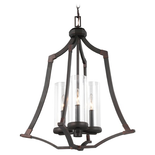 Feiss Lighting Feiss Lighting Jacksboro Dark Antique Copper / Antique Copper Pendant Light with Cylindrical Shade F3110/3DAC/AC