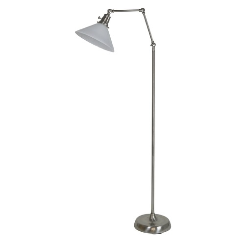 House of Troy Lighting House Of Troy Otis Satin Nickel Floor Lamp with Conical Shade OT600-SN-WT