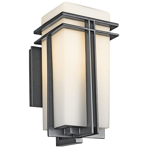 Kichler Lighting Kichler Modern Outdoor Wall Light with White Glass in Black Finish 49201BK