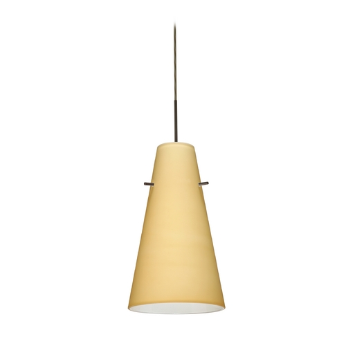 Besa Lighting Modern Pendant Light with Beige / Cream Glass in Bronze Finish 1JT-4124VM-BR