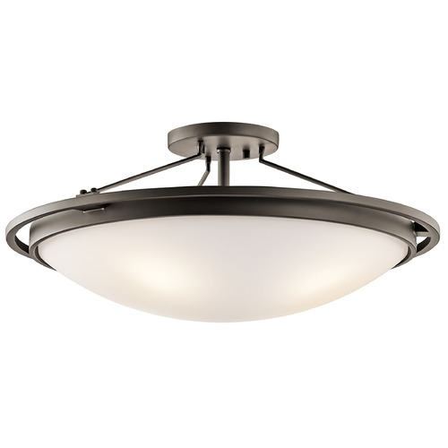 Kichler Lighting Kichler Semi-Flushmount Light with White Glass in Olde Bronze Finish 42025OZ