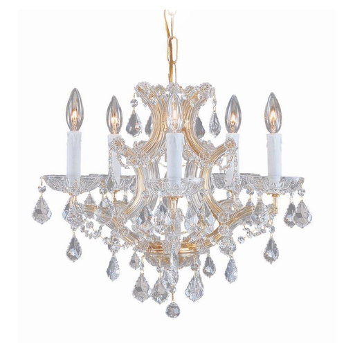Crystorama Lighting Crystal Mini-Chandelier in Gold Finish 4405-GD-CL-SAQ