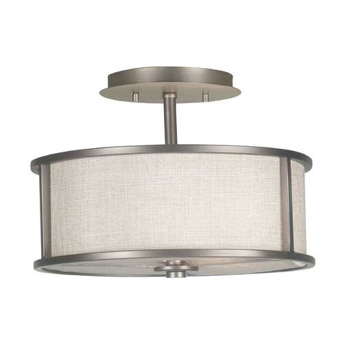 Kenroy Home Lighting Modern Semi-Flushmount Light with White Shade in Bronze Gilt Finish 91582BZG