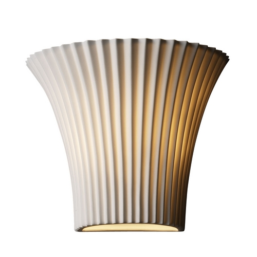 Justice Design Group Modern Sconce Wall Light with Beige / Cream Porcelain Shade POR-8810-WFAL