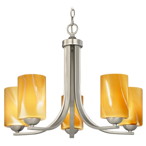 Design Classics Lighting Chandelier with Butterscotch Art Glass in Satin Nickel Finish 584-09 GL1022C
