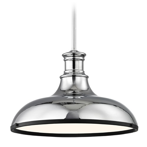 Design Classics Lighting Industrial Pendant Light Chrome with 15.63-Inch Wide 1761-26 SH1777-26 R1777-07