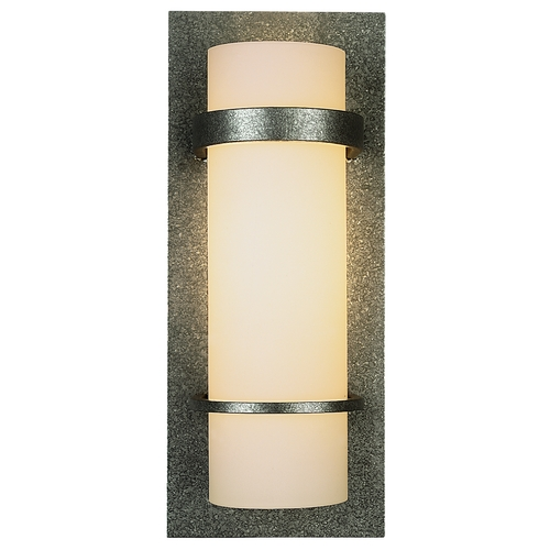 Hubbardton Forge Lighting Sconce Wall Light with White Glass in Natural Iron Finish 205812-20-G65