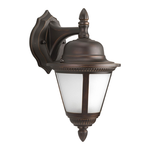 Progress Lighting Outdoor Wall Light with White Glass in Antique Bronze Finish P5862-20WB