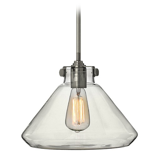 Hinkley Lighting Pendant Light with Clear Glass in Antique Nickel Finish 3137AN