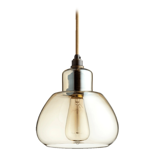 Quorum Lighting Quorum Lighting Oiled Bronze W/ Amber Mini-Pendant Light 8000-386