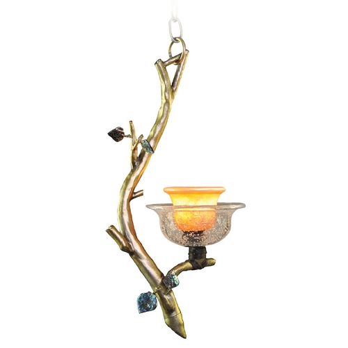 Kalco Lighting Kalco Lighting Cottonwood Aged Silver Mini-Pendant Light with Bell Shade 2518SV/ART