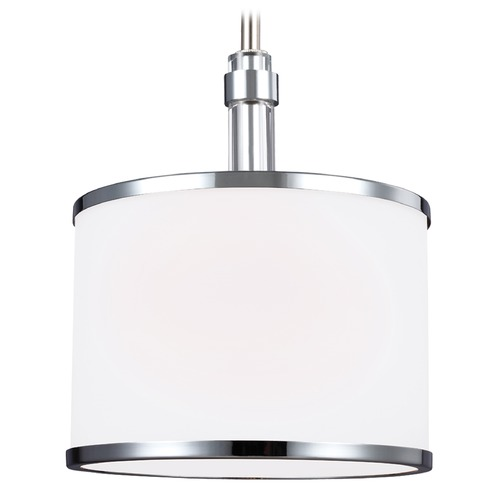 Feiss Lighting Feiss Lighting Prospect Park Satin Nickel / Chrome Mini-Pendant Light with Drum Shade P1417SN/CH