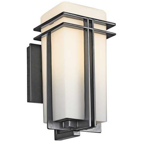 Kichler Lighting Kichler Modern Outdoor Wall Light with White Glass in Black Finish 49200BK