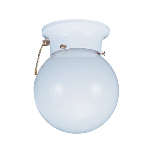 Sea Gull Lighting Flushmount Light with White Glass in White Finish 5367PC-15