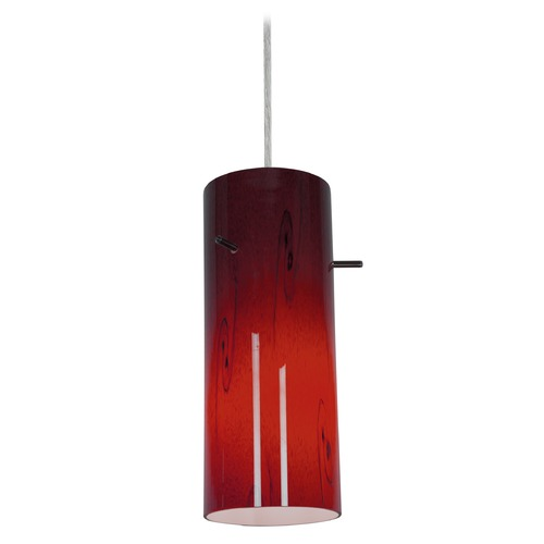 Access Lighting Modern Mini-Pendant Light with Red Glass 28030-1C-BS/RUSKY