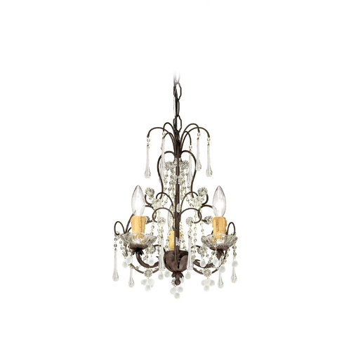 Crystorama Lighting Crystal Mini-Chandelier in Dark Rust Finish 4523-DR