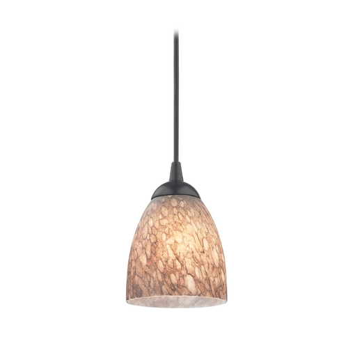 Design Classics Lighting Modern Mini-Pendant Light with Brown Art Glass 582-07  GL1016MB
