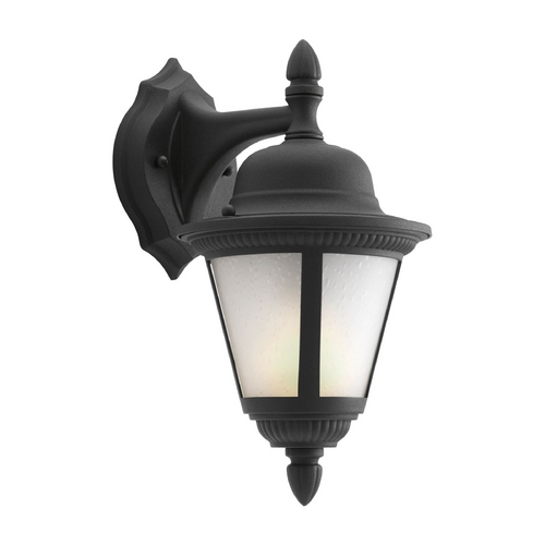 Progress Lighting Outdoor Wall Light with White Glass in Black Finish P5862-31WB