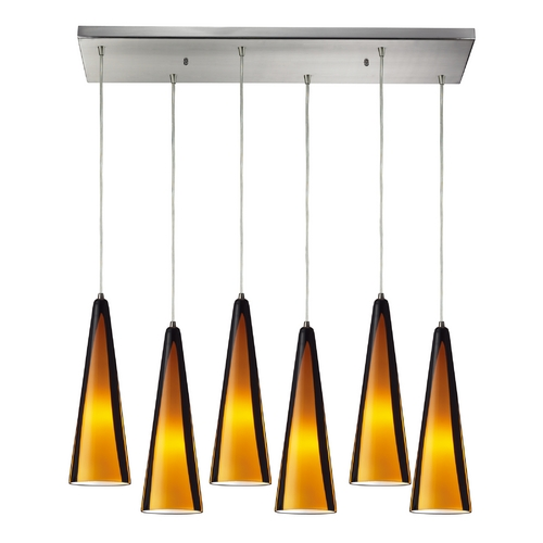 Elk Lighting Modern Multi-Light Pendant Light with Amber Glass and 6-Lights 545-6RC-SAH