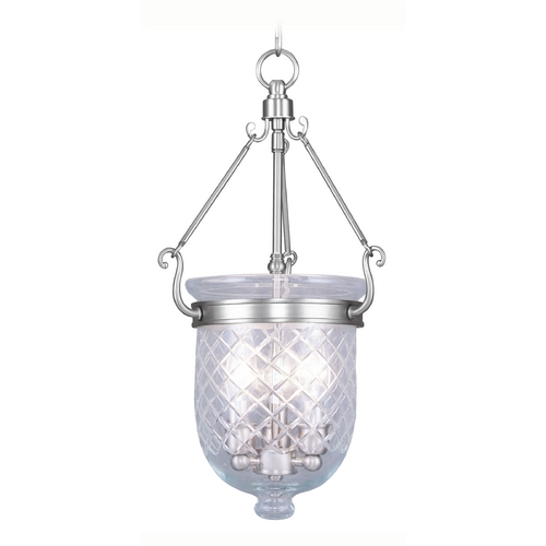 Livex Lighting Livex Lighting Jefferson Brushed Nickel Pendant Light with Bowl / Dome Shade 5073-91
