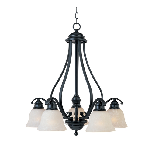 Maxim Lighting Chandelier with White Glass in Black Finish 11815ICBK